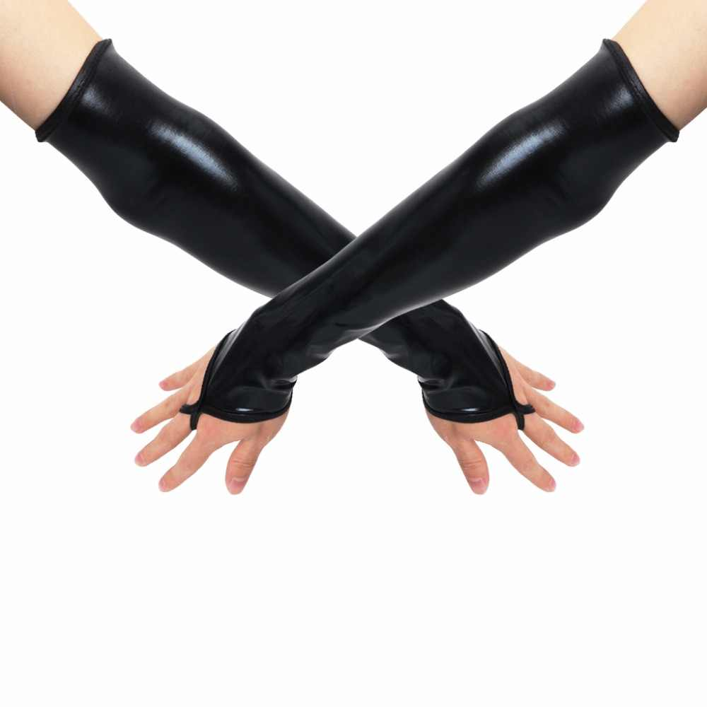 Sexy Long Black Metallic Feel Gloves Synthetic Leather Arm Sleeves Costume New Mittens