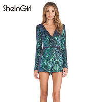 SheInGirl Summer Sexy Romper Women Jumpsuit Blue Sequin jumpsuit shorts elegant fitness female bodycon Bodysuit