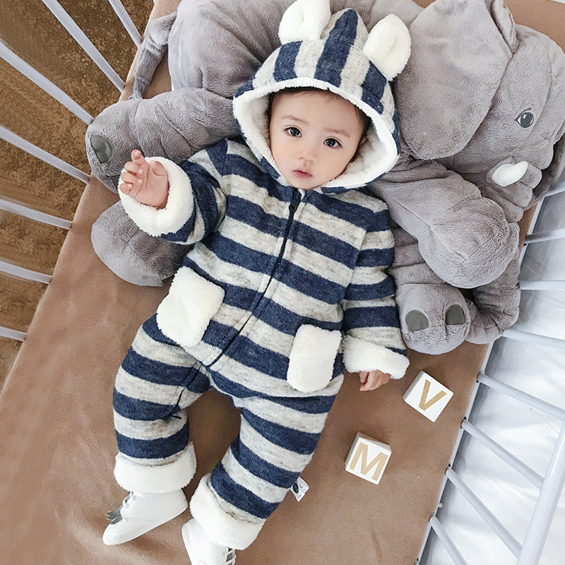 Rompers Baby 2018 Winter Stripe Down Snowsuit Baby Rompers Newborn Cute Cotton Fleece Soft Hooded Infant Long Sleeve Jumpsuit ultrasound photon rf radio frequency cavitation vacuum anti cellutite reduction body skin tightening slimming massager machine