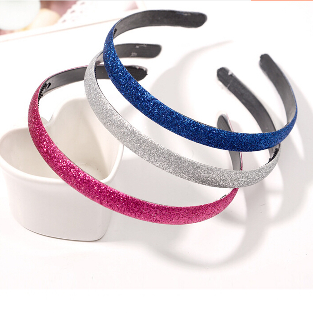 1PCS Fashion Plastic Teeth Head Bands Lined Glitter