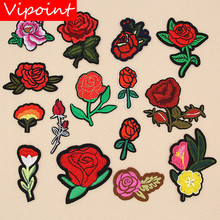 VIPOINT embroidery rose patches flower badges applique for clothing XW-12