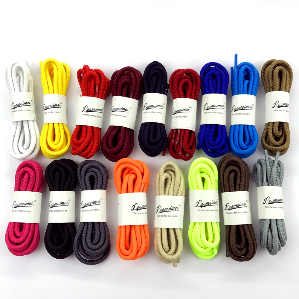1Pair 20 Colors Top Quality Polyester Solid Classic Round Shoelaces Casual Sports Boots Lace 90cm 120cm 150cm