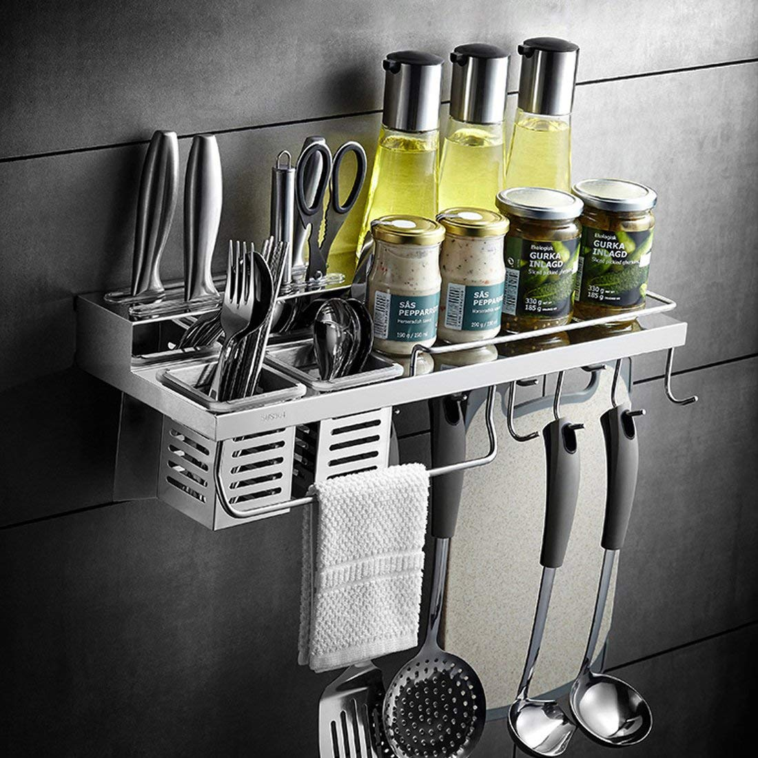Wall Mounted Kitchen Cabinet Organizer Storage Stand Holder Shelf For Knife Slice Spoon Duster Cloth Cutting