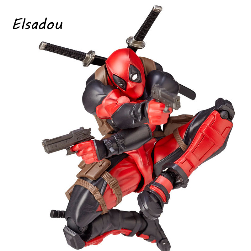 Elsadou Marvel Super Hero FIGMA Series NO.001 Deadpool Action Figures Toy Doll deadpool action figure revoltech 160mm series no 001 anime deadpool collectible model doll toy