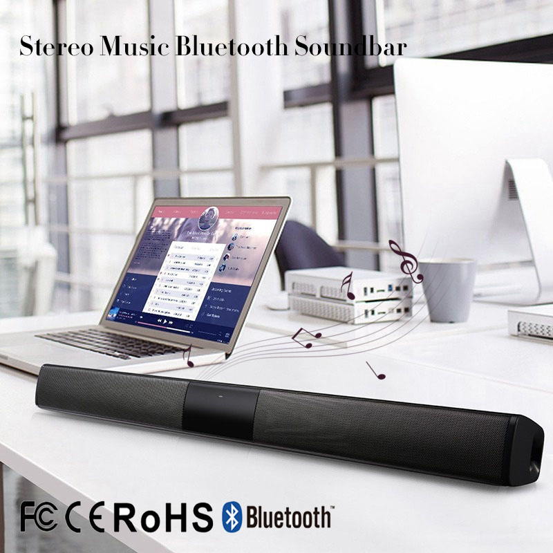 Drahtlose Bluetooth Spalte Soundbar Stereo Lautsprecher Leistungsstarke TV Heimkino 2.0A Eingebaute Batterie Sound Bar TF USB Sound Bar