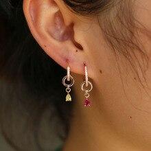 Water Drop cz charm Dangle Earrings Rose Gold color Earings Drop Circle geometric Women elegant Earring Fashion Jewelry brinco