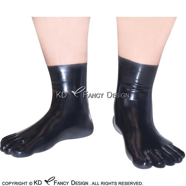Black Sexy Short Latex Five Toes Socks Rubber Socks WZ-0006