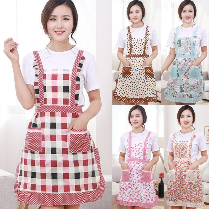 Flower Pattern Cotton Apron Woman Adult Bibs Home Cooking Baking Shop Cleaning Aprons Electronic Components & Supplies