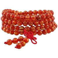 SUNYIK Cornaline 108 Six Mots Mantra Perles Bracelet Tibétain Bouddhiste Mala Collier
