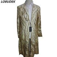 Maschio costume di modo Oro paillettes lunga giacca A Vento per singer dancer prestazioni stella discoteca spettacolo teatrale indossa