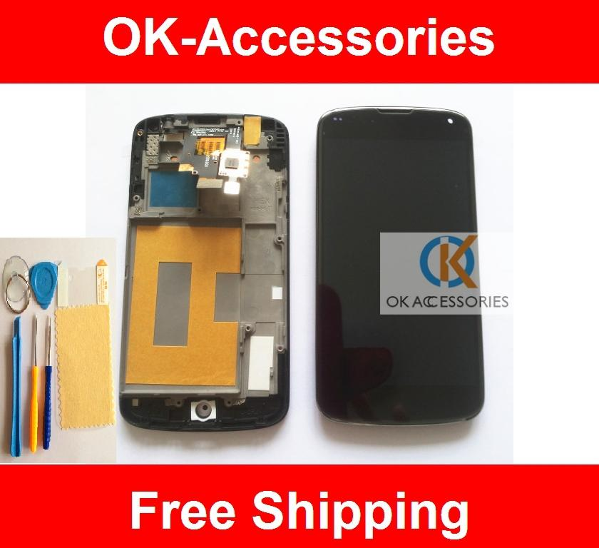 Black Color Quality For LG Google Nexus 4 E960 LCD Touch Screen Frame Protector Tools No