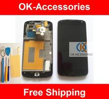 Schwarz Farbe Qualität Für LG Google Nexus 4 E960 LCD + Touch Screen + Rahmen + Protector + Werkzeuge Keine Sensor Problem 1 Teil/los