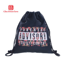 Printed Flowers Drawstring Bag Girls Canvas Hang Sack Beach Package Pouch Fashion Women Travel Shopping Storage Drawstring bag