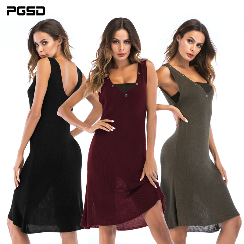 PGSD Medium length Sleeveless Large V-collar stitching knitted dress summer Simple Fashion sexy Women Clothes