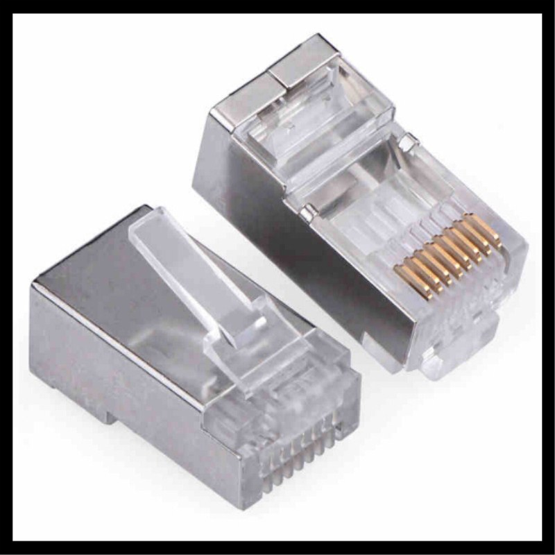 100PCS/LOT Metal Shield RJ45 RJ-45 8P8C Network CAT5 CAT5E Modular Plug Connector Cable Adapter Connector imc hot 10 pcs rj45 8p8c double ports female plug telephone connector