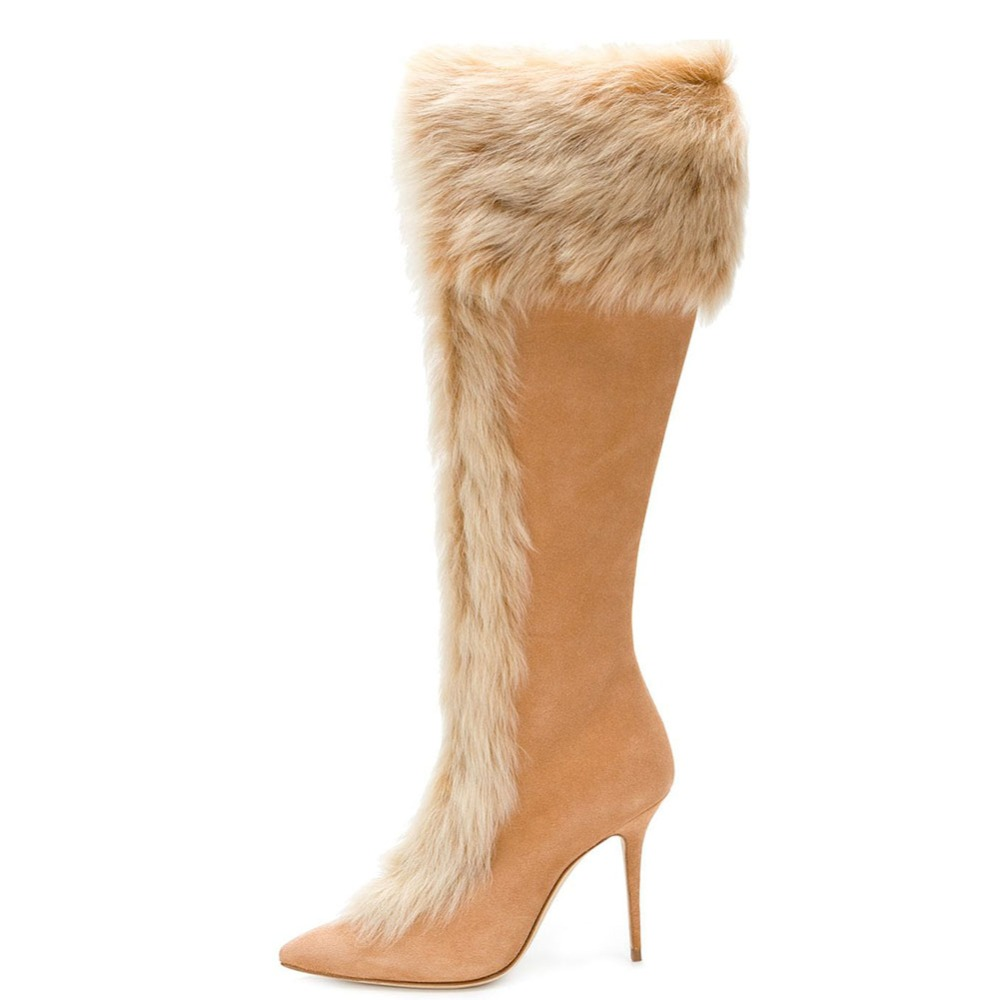 Fashion Women Ladies Pointed Toe High Heel Knee High Boots Warm Faux Fur Winter Party Dress Shoes Zipper Beige Tan Size 4~15.5 pearl beading faux fur pocket ribbed dress page 4