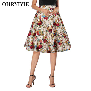413a21c8e OHRYIYIE faldas largas plisadas de cintura alta para mujer 2019 nueva moda  Vintage falda de ...