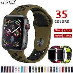 Faixa de relógio pulseira de Silicone para A Maçã 44mm/40mm banda iWatch 42mm/38mm Respirável Esporte pulseira pulseira Para O relógio Maçã 4 3 2 1