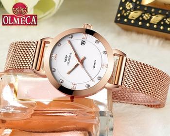 Top Luxury Brand OLMECA Watch Relogio Feminino Fashion Women Watches Casual montre femme Wrist Watch Water Resistant Mesh Band дамски часовници розово злато