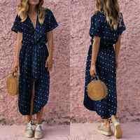 KANCOOLD Kleid Frauen Sexy Casual Täglichen Fliege V-ausschnitt Dot Taste Kleid Kurzarm Soild Lange Kleid frauen 2018AUG14