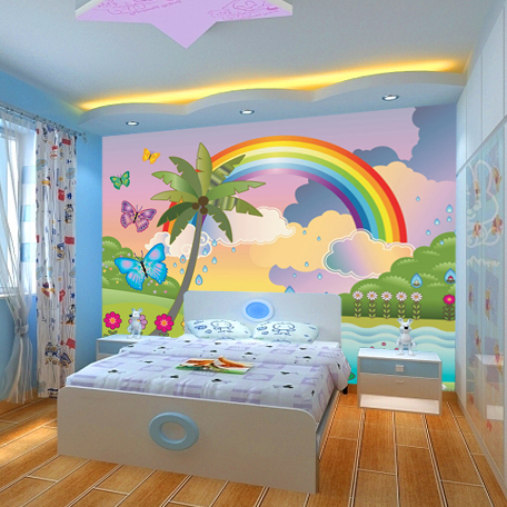 Popular rainbow wall mural buy cheap rainbow wall mural for Mural kids room