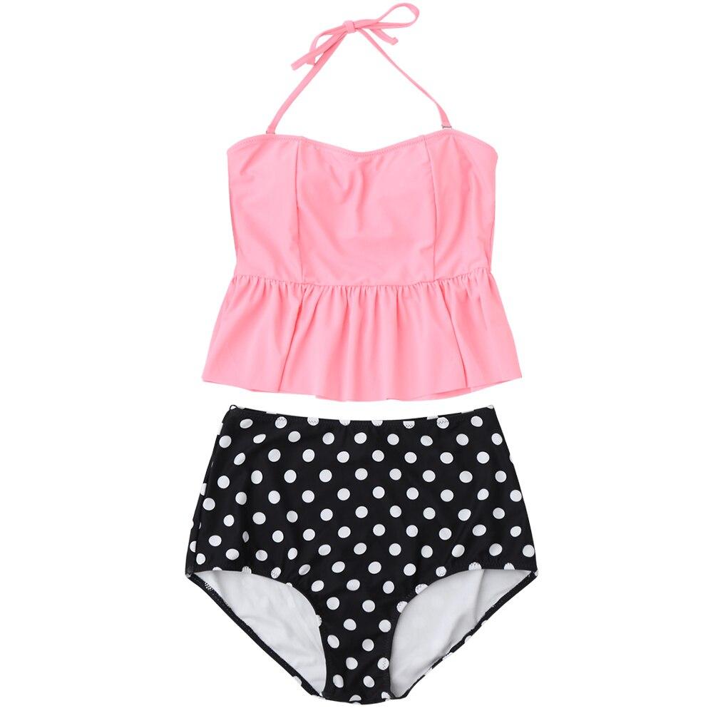 0fe2cf4b347 ZAFUL Swimsuit Women Peplum High Waisted Polka Dot Tankini Set Skirted  Tankini Top Halter Swimwear Padded TwoPiece Swimming Suit