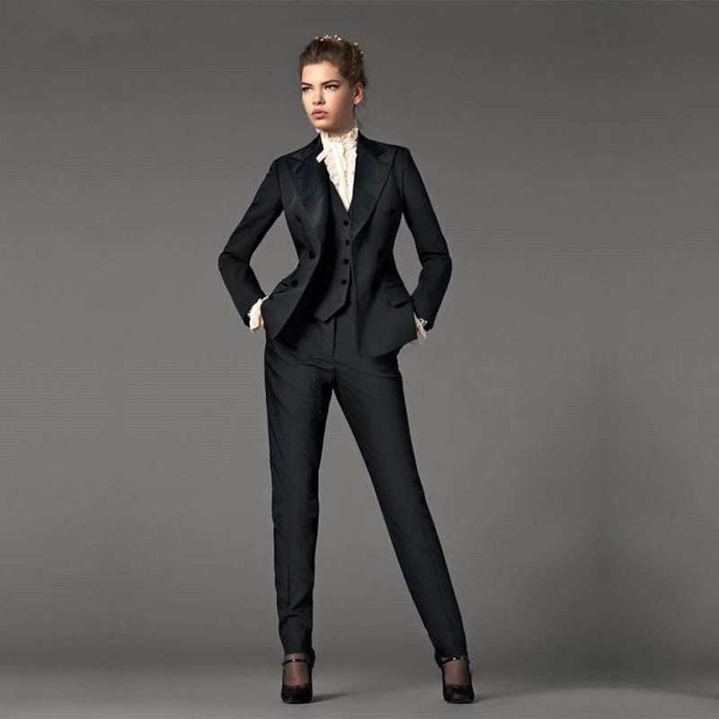 Jacket+Pants+Vest Design Black Women Business Suits Blazer Female Office Uniform