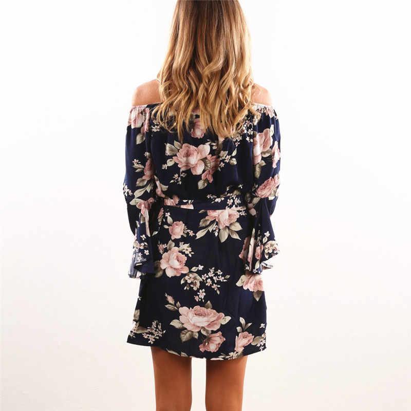 Женское платье 2019 летнее сексуальное с открытыми плечами шифоновое платье с цветочным принтом бохо стиль Короткие вечерние Пляжные Платья Vestidos de fiesta