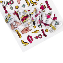 Full Beauty 1PCS Optional Colorful Water Transfer Nail Sticker Lovely Cat Cake Rainbow Image Nail Art Decorations Decals CHWG(China)