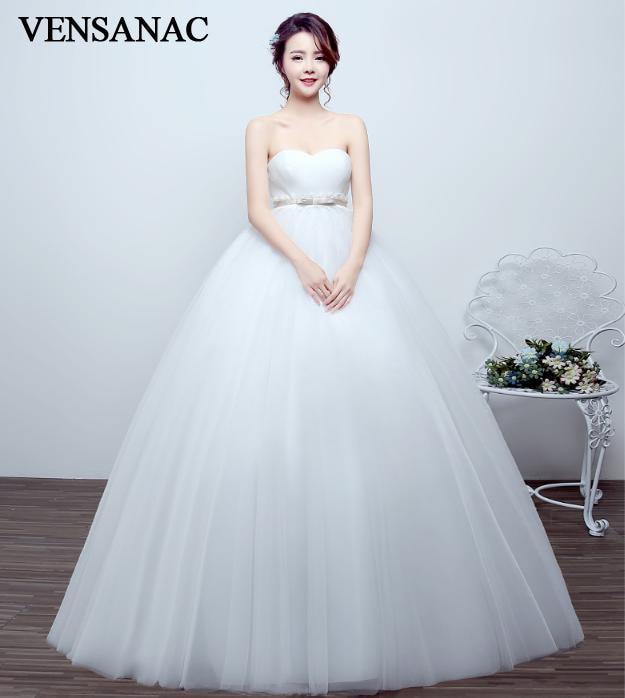 VENSANAC 2018 Pleat Strapless Bow Sash Ball Gown Wedding Dresses Elegant Lace Appliques Tulle Backless Bridal Dress in Wedding Dresses from Weddings Events