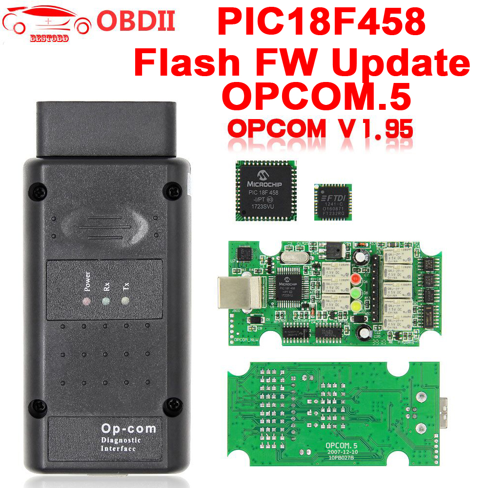 For Opel OP COM V1.95/V1.70 2014V PIC18F458 FTDI FT232RQ Be Flash Update OBDII OBD2 Diagnostic Scanner Cable Op com OPCOM V1.99-in Car Diagnostic Cables & Connectors from Automobiles & Motorcycles