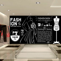 Free Shipping Large European Style Dress Clothing Clothing Clothing Store Mural Wallpaper Background Wall Wallpaper Wood