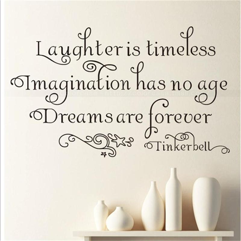 Tinkerbell Dreams Forever Wall Quote Decals Vinyl stickers Decor Kids Art gift