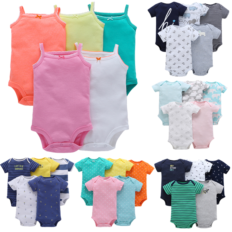 2018 Brand Baby Boys Girls Clothing Cotton Toddler Summer Clothing Infantile Comfortable Pajamas Newborn Bodysuit Five Piece Set cami satin two piece summer pajamas