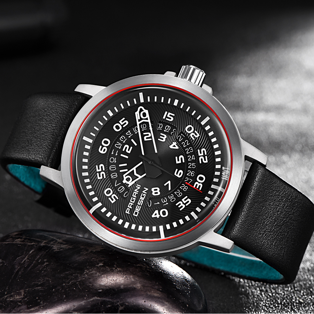 Image 3 - PAGANI Mens Watches Brand Luxury Stylish Watch Leather Strap New Dials Design Rotate Calendar Military Quartz Watch for Men-in Quartz Watches from Watches
