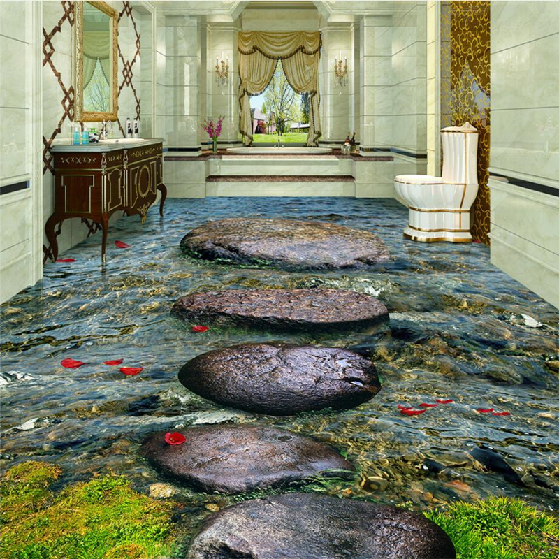 beibehang Custom Photo Wallpaper Wear Thicker PVC Wall Sticker Stone Creek River Bathroom 3D Floor Tile Tile Painting beibehang lotus leaf fish custom photo wallpaper waterproof self adhesive wall sticker 3d floor painting mural wall paper roll