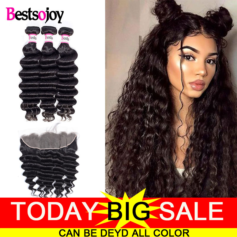 Bestsojoy Loose Deep Wave Bundles With Frontal Brazilian Human Hair 3 Bundles With Closure Virgin Hair