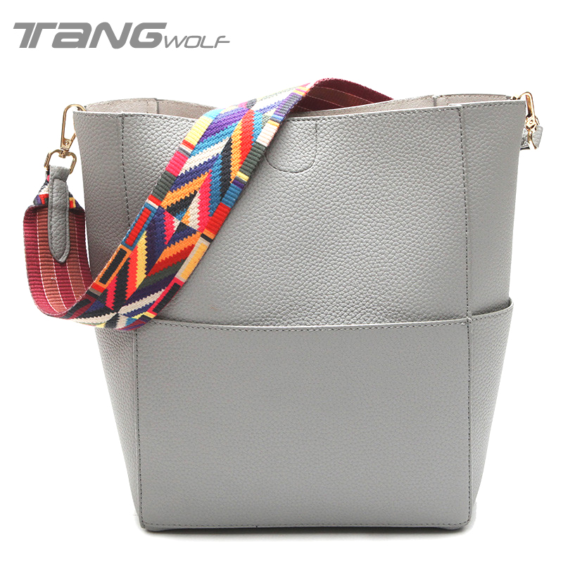Tang Wolf Women Bag 2017 Brands Leather Bucket Bag luxury Women's Handbags Clutch Designer Ladies shoulder Bags Bolsas Feminina