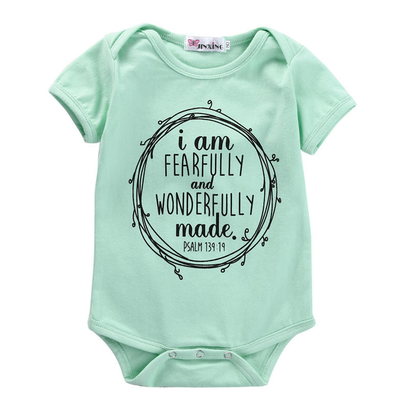 Newborn Boys Girls Cotton Green Short Sleeve Romper Jumpsuit Body Baby Letters Print Clothes Outfits 0-18M