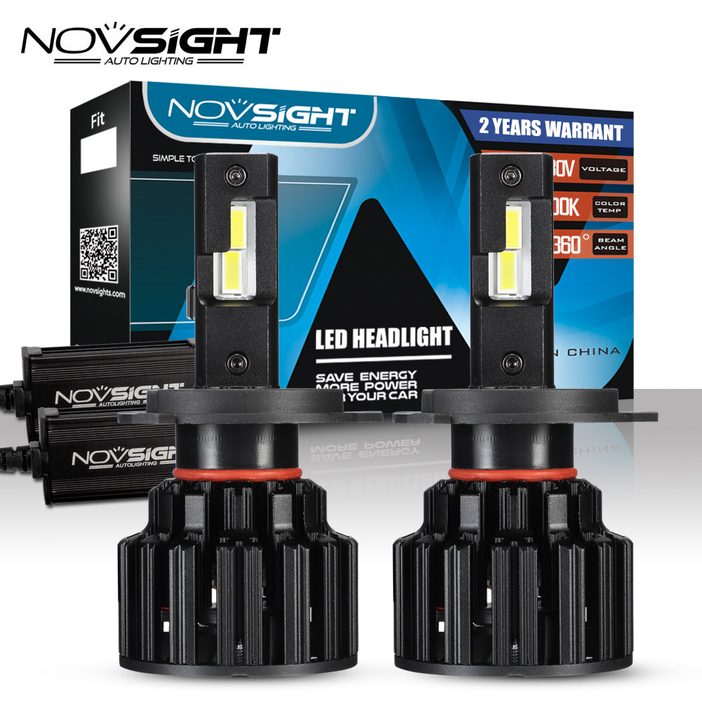 NOVSIGHT Car <font><b>Headlight</b></font> <font><b>H4</b></font> Hi/Lo Beam <font><b>LED</b></font> H7 H8 H9 H11 9005/HB3 9006/HB4 <font><b>100W</b></font> 20000LM 6000K Auto Headlamp Fog Light Bulbs image