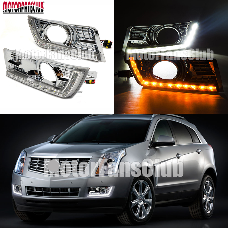 White Yellow Color LED Daytime Running Light For Cadillac SRX SUV DRL Fog 2010 2011 2012 2013 2014 Turn Signal Lights for skoda superb 2008 2009 2010 2011 2012 2013 new led drl daytime running light fog light with wire of harness and gift