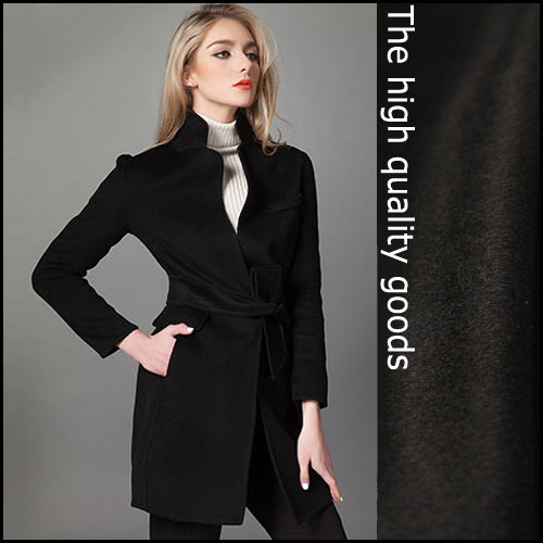 Pure black cashmere clothing fabric short hair thicker autumn and winter coat fabric
