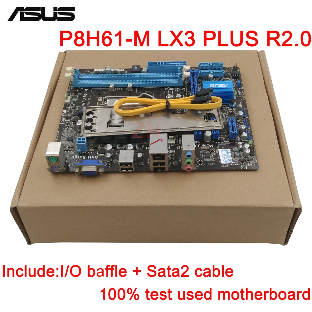 original Used Desktop motherboard For ASUS P8H61-M LX3 PLUS R2.0 H61 support LGA1155 I3 I5 I7 DDR3 support 16G SATA2 USB2.0 UATX original used desktop motherboard for asus p5ql pro p43 support lga7756 ddr2 support 16g 6 sata ii usb2 0 atx