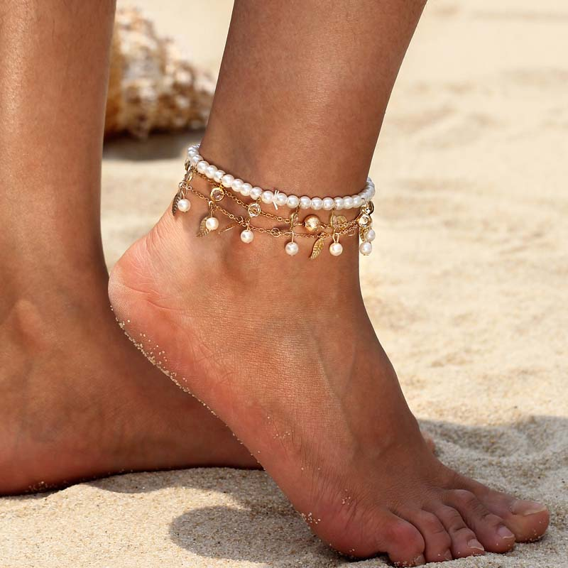 Pearl Pendant Ankle Strap Bohemian Bijouterie Sexy Leaves Shape Ankle Bracelet Sandals Pulseras Tobilleras Mujer Foot Jewelry