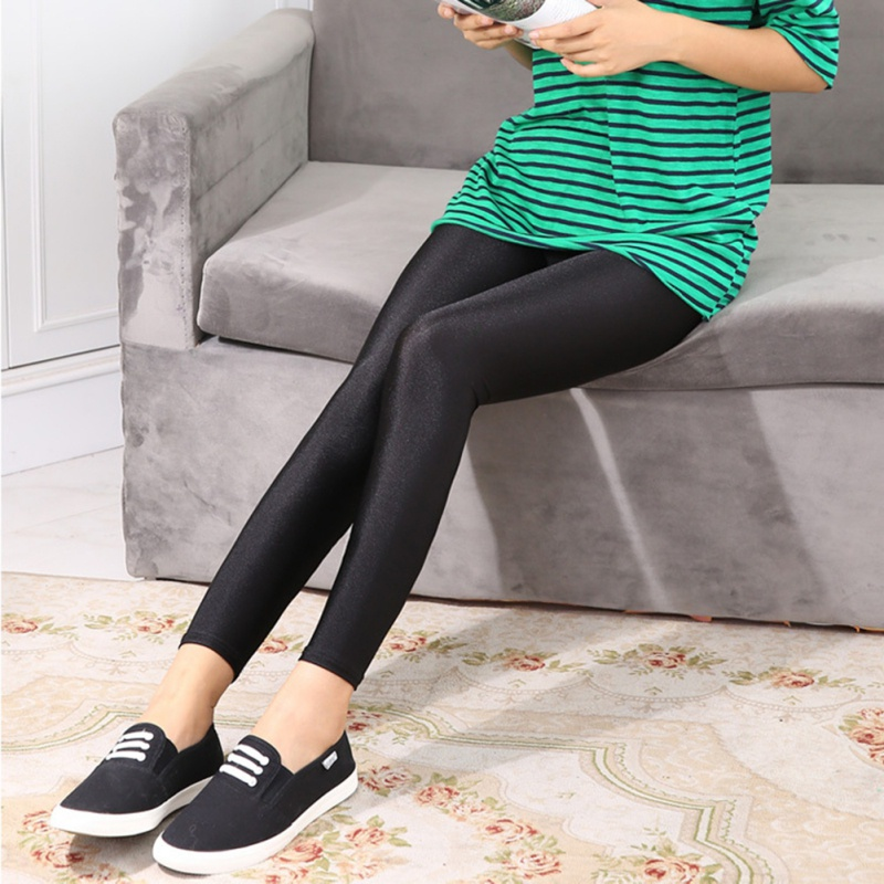 Women Ankle Length Leggings Fitness Pant Thin Cropped Shiny Stretch Pencil Pants