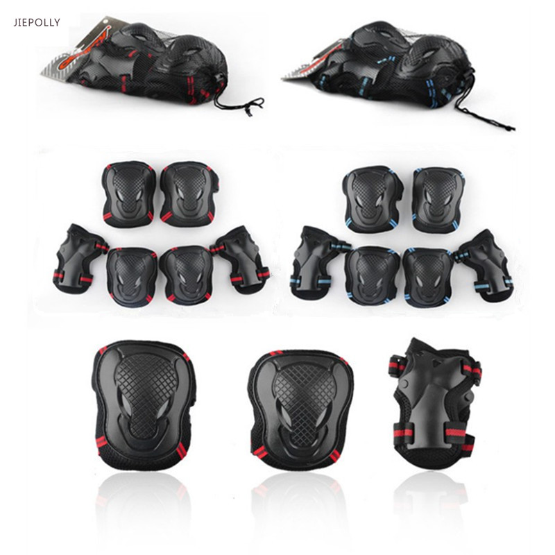 Jiepolly 6pcs/Set Sports Safety Set Knee Pads Elbow Pads Wrist Protector Kneepads Protection for Scooter Cycling Roller Skating