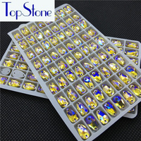 Wholesale Topaz AB Color 7x12mm 17x28mm Drop Sewing Glass Rhinestones Flatback 2 Holes For Wedding Garments