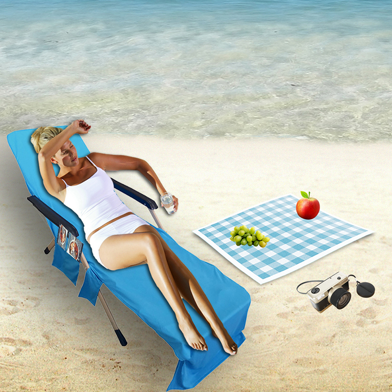 Beach Towel Lounger Sun Lounger Holiday Lounge Pockets Leisure Chair Cover