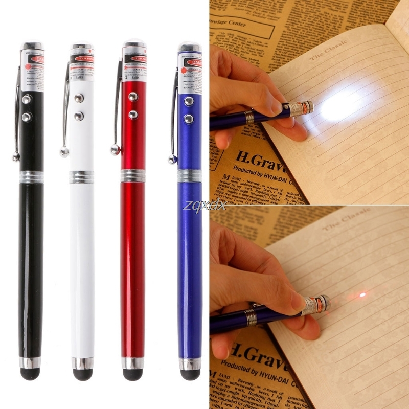 4In1 LED Torch Laser Pointer Touch Screen Stylus Ballpoint Pen For iPhone Laptop Z09 Drop ship