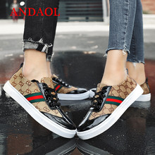 Купить с кэшбэком ANDAOL Brand Women's Casual Shoes Fashion Luxury Lace-Up Flats Campus Shoes Luxury Women Leather Patchwork Shoes Women Sneakers